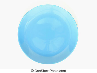 Top view of blue empty plate on isolated, white background