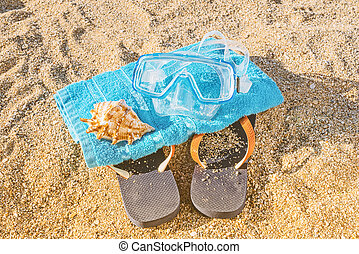 Summer leisure activity kit concept - Top view of blue shoes...