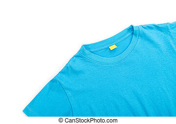Top view of blue T-Shirt isolated on white