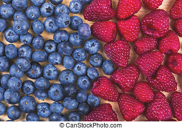 top view of blueberries and raspberries