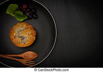 Top view of blueberries muffin