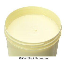body butter - top view of body butter jar isolated on white...