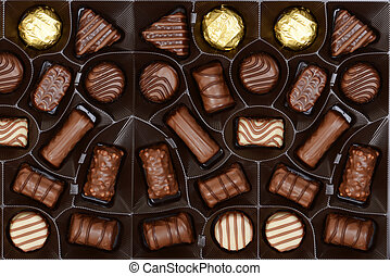 box of chocolates background - top view of box of chocolates...