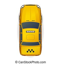 Top view of bright yellow realistic taxi car on white