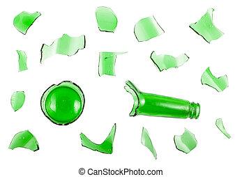 Top view of broken green bottle