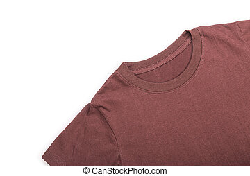 Top view of brown  T-Shirt isolated on white