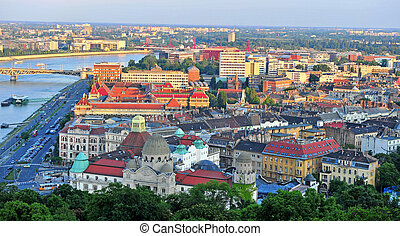 Top view of Budapest city on sunset
