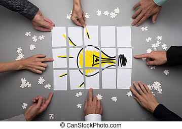 Conceptual for brainstorming and teamwork