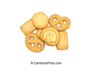 top view of butter cookies on white background