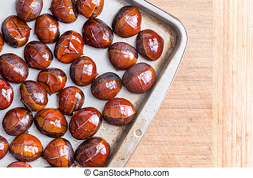 Top view of buttered chestnuts