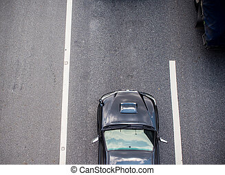 Top view of car on road