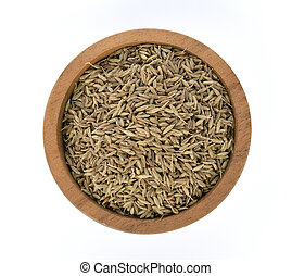 Top view of Caraway seeds in wooden bowl on white background