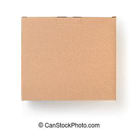 Top view of cardboard blank brown box