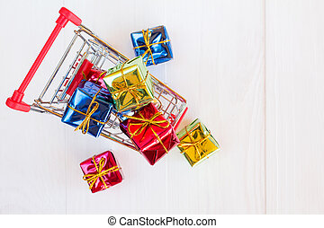 Top view of cart with gifts
