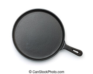 Top view of cast iron crepe pan