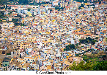 Top view of Castellammare del Golfo in Sicily, architecture backgroung, Italy