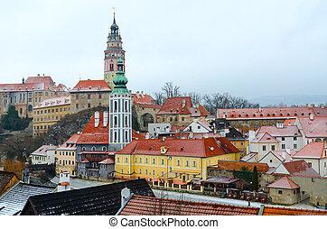 Top view of castle and historic center of Cesky Krumlov, Czech Republic