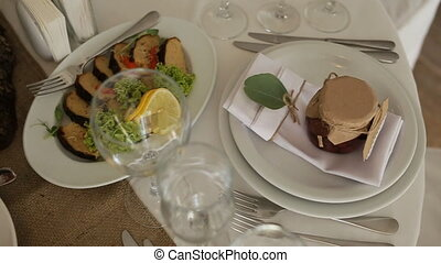 Top view of catering services background with snacks on guests table in restaurant at event party