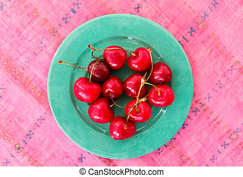 Top View of Cherries on a Table