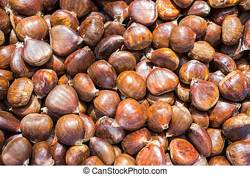 Top view of chestnuts