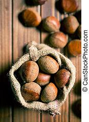 chestnuts in jute bag