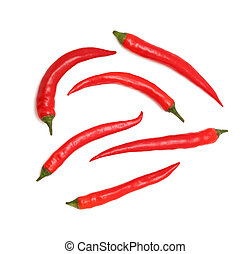 Top view of chili peppers (isolated)