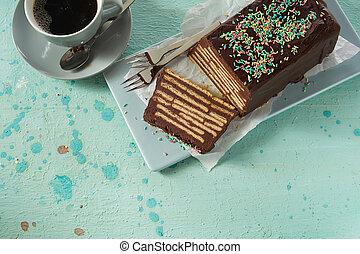 Top view of chocolate Kalter Hund cake