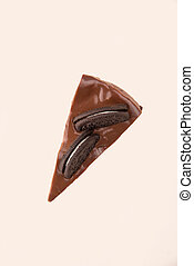 Top view of chocolate piece of cake