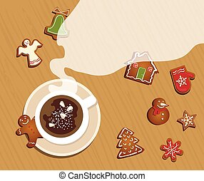 top view of Christmas celebration table with hot cocoa and gingerbread cookies .