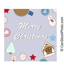 top view of Christmas celebration table with hot cocoa and gingerbread cookies . vector illustration