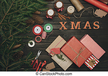 christmas composition with gifts and decorations