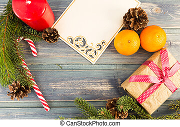 Top view of Christmas decor with copy space