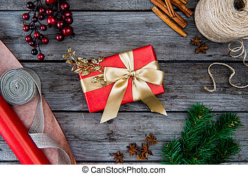 christmas present with golden ribbon