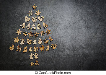 top view of christmas tree holiday background with christmas object decorations on dark background festive and happy new year