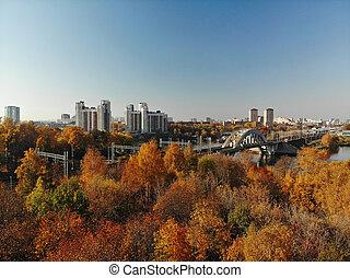Top view of city of Khimki and railroad bridge in autumn, ...