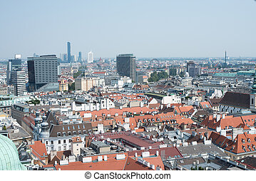 Top view of city with blue sky