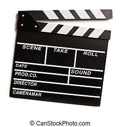 clapper board on white background - top view of clapper...