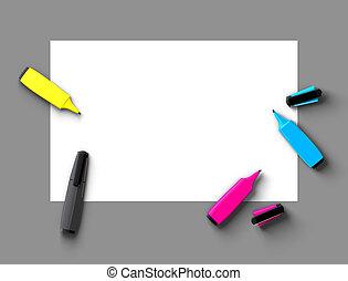 CMYK felt-tip pens - Top view of CMYK felt-tip pens on blank...
