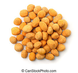 Top view of coated peanuts