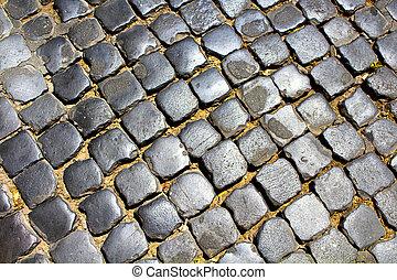 Top view of cobblestone in Rome