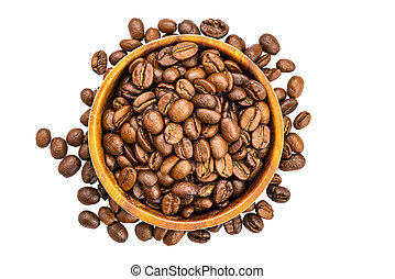 Top view of coffee beans in wooden bowl on white background.