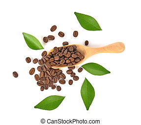 Top view of coffee beans in wooden spoon on white background