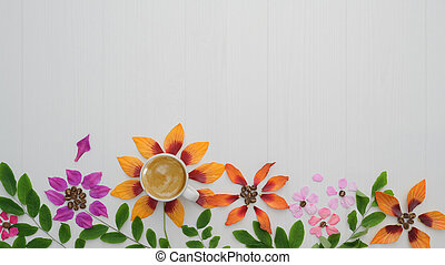 Top view of coffee cup with flower petals, leaves on white plank background