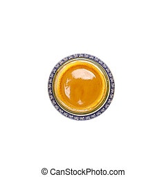 Top view of coffee glass over white
