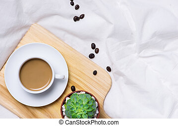 Top view of coffee on office table