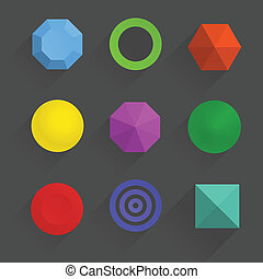 Top view of color geometric figures with shadows