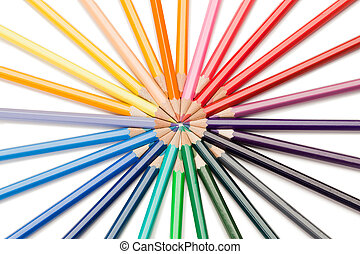 Top view of color pencils star on a white background