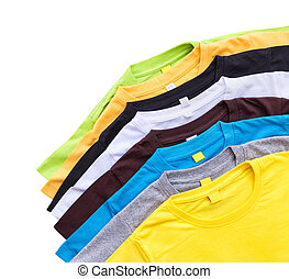 Top view of color T-Shirt isolated on white. Saved with clipping path