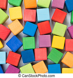 Top view of colorful cubes