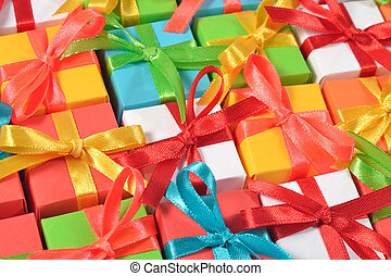 Top view of colorful gifts
